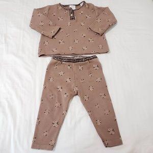 Zara Floral 2 Piece Sweats Set Loungewear